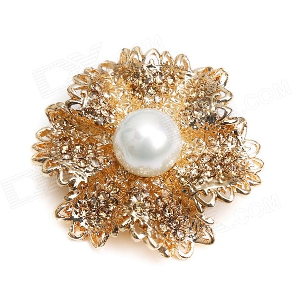 eQute XPEW24C3 Charming Modern Pearl Style w/ Rhinestones Brooch - Golden