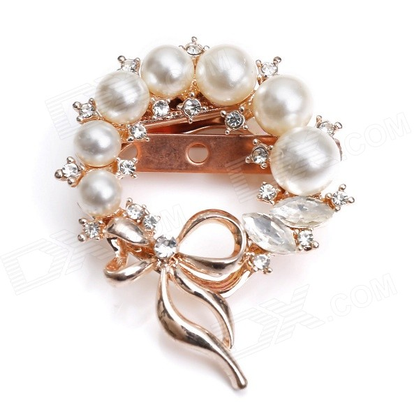 eQute XPEW25C1 Women's Elegant Luxurious Pearl Style + Rhinestones Brooch - White