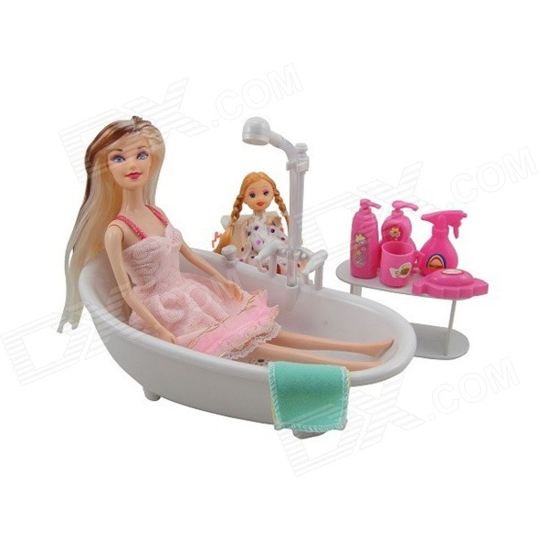 ZL30102 Electric Bathroom Toys w/ Spray Function - Red + Deep Pink + Multi-ColorOther Toys<br>Brand Kinrener Color Red + Dark Pink + Multi-Colored Model ZL30102 Material PVC Quantity 1 Set Suitable Age 3-4 Years Packing List 2 x Dolls 1 x Bathroom products 1 x Commode 2 x Towel 1 x Clothes 1 x Table 1 x Bathtub<br>