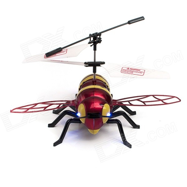 JUSTONE J063-1 2-CH Honeybee Style IR R/C Outdoor Helicopter w/ Lamp - Black + Yellow + Red (6 x AA)