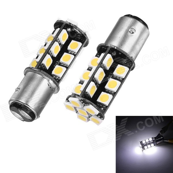 Merdia 1157 40lm 5W 6000K 30-5050 SMD LED White Car Brake Lights - Silver + Yellow (12V / Pair) carprie super drop ship new 2 x canbus error free white t10 5 smd 5050 w5w 194 16 interior led bulbs mar713