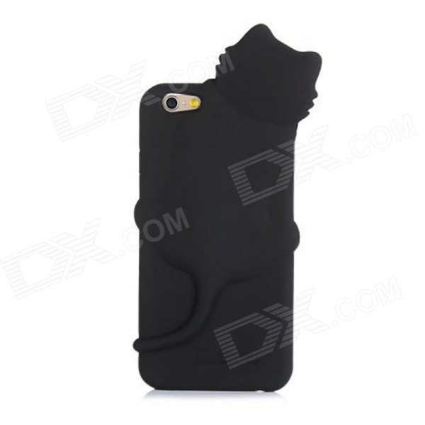 Lovely Cat Shaped Design Silicone Soft Protective Case w/ Dust Plug for IPHONE 6 - Black