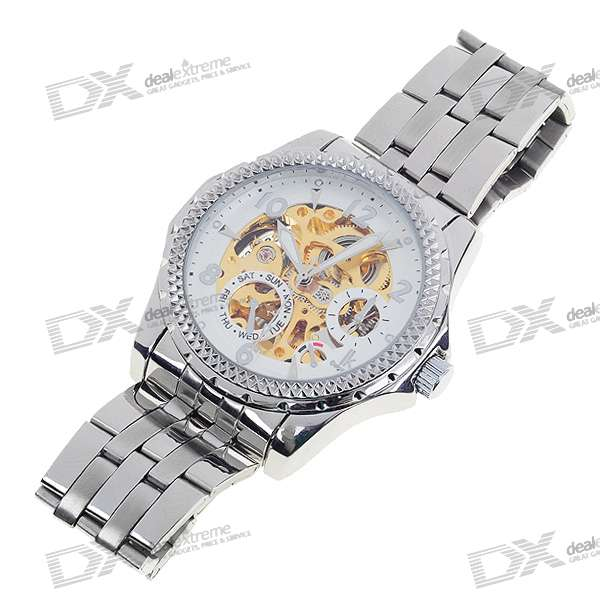 Gentle See-Thru Stainless Steel Self-Winding Mechanical Wristwatch