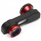 3-in-1 Front / Rear Camera Fish Eye + Macro + Wide Angle Lens for IPHONE 6 PLUS - Black + Red