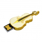 Stylish Violin Shape Zinc Alloy USB Flash Disk - White + Gold (16G)