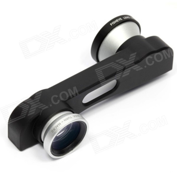 3-in-1 Front / Rear Camera Fish Eye + Macro + Wide Angle Lens for IPHONE 6 PLUS - Black + Silver