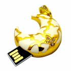 Lovely Moon Style USB 2.0 Flash Disk - Gold + White (16G)