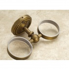 D7964 Retro Wall Mount Crossover Copper Double Cup haltija + 2-Cup Set-Valkoinen + Bronze