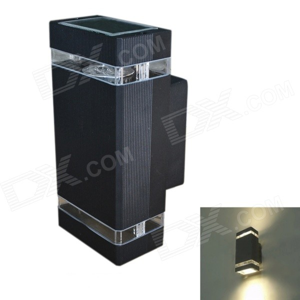 JIAWEN Waterproof Outdoor 8W 320lm 3200K 8-LED Warm White Wall Balcony Lamp - Black (AC 85~265V)Landscape Lamps<br>Form  ColorMatte BlackBrandJIAWEN®ModelBD-8W-002MaterialAluminum + tempered glassQuantity1 DX.PCM.Model.AttributeModel.UnitWaterproof LevelIP54PowerOthers,2 x 4WRated VoltageAC 85-265 DX.PCM.Model.AttributeModel.UnitChip BrandOthers,Genesis photonicsEmitter TypeLEDTotal Emitters8Theoretical Lumens320 DX.PCM.Model.AttributeModel.UnitActual Lumens320 DX.PCM.Model.AttributeModel.UnitColor BINWarm WhiteColor Temperature3000~3200KDimmableNoBeam Angle20~30 DX.PCM.Model.AttributeModel.UnitInstallation TypeWall MountPacking List1 x Lamp (includes 2 x GU10 4W spotlight)<br>
