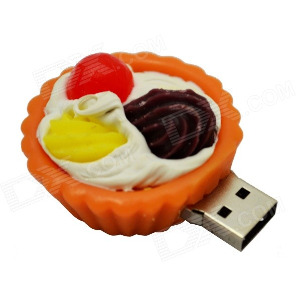 Lovely Egg Tart Shaped USB 2.0 Flash Disk - Orange + Red + White (8GB)