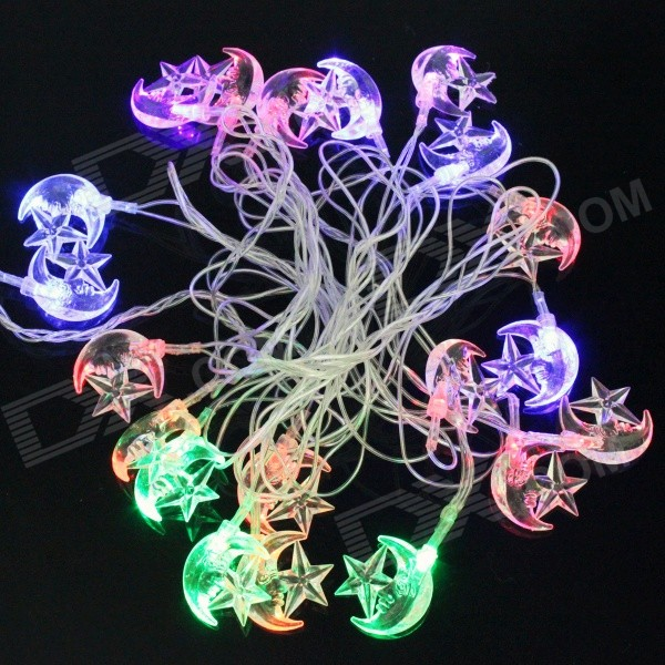 Moons + Stars Style Christmas Decorative 4.8W 20-LED RGB Flash Light String (AC 110~220V / 5m)