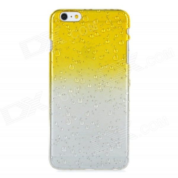 Raindrop Pattern Protective Plastic Back Case Cover for IPHONE 6 PLUS - Yellow + Transparent transparent tpu material spindrift pattern and diamond design protective back cover case for iphone 6 plus 5 5 inches