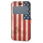 US Flag Pattern Protective PU Leather + TPU Case w/ View Window / Stand / Card Slot for IPHONE 6