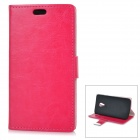 Protective Flip-Open PU + PC Case w/ Stand / Card Slots for Motorola Moto G2 - Deep Pink