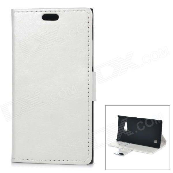 Protective Flip-Open PU + PC Case w/ Stand / Card Slot for Nokia Lumia 730 - White kinston stylish flip open pu plastic case w stand card slot for nokia lumia 520 4 3 black