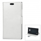 Protective Flip-Open PU + PC Case w/ Stand / Card Slot for Nokia Lumia 730 - White