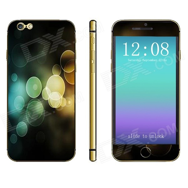 Stylish Patterned Front + Back Decorative Sticker Set for IPHONE 6 PLUS 5.5 - Black + Multicolored