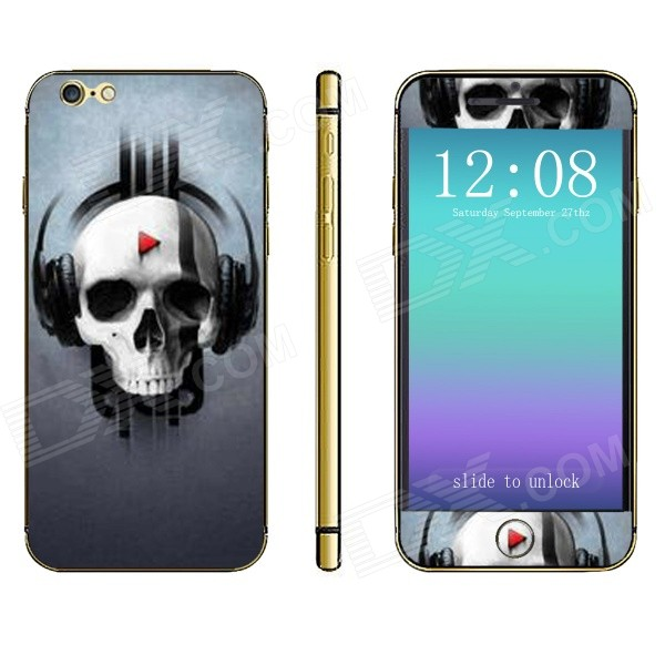 Stylish Skull Pattern Front + Back Decorative Sticker Set for IPHONE 6 PLUS 5.5 - Multicolored