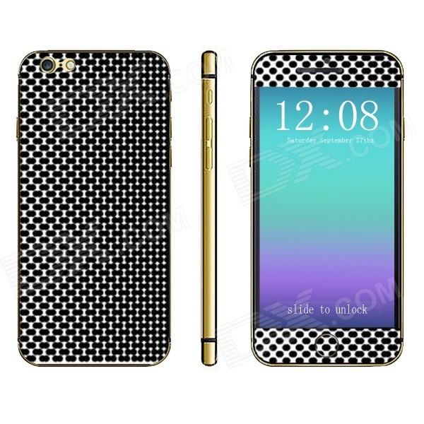 Stylish Grid Pattern Front + Back Decorative Sticker Set for IPHONE 6 PLUS 5.5 - Black + White женское платье ctd 2015 4 s m l xl xxl 1112187
