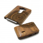 Patterned Detachable Protective Wood Back Cover Case for LG G3 - Brown