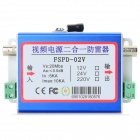 2-in-1 10KA BNC Video Signal + 2Pin Power Surge Protection Device - Blue + Silver (12V / 24V / 220V)