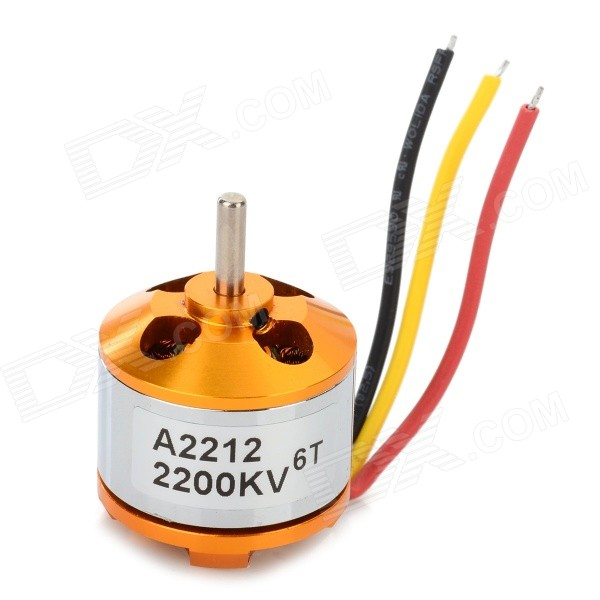 A2212 6T 2200KV Brushless Motor Set for R/C Toy - Golden + Silver diy motor shaft coupling joint golden