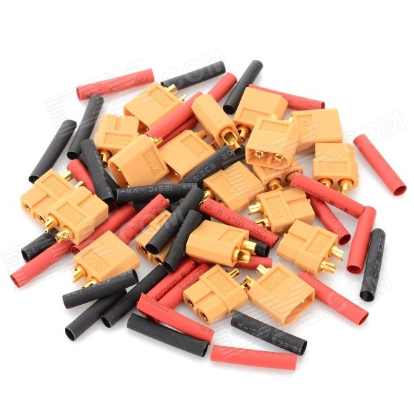 XT60 Connectors + Heat Shrink Tubing Set for R/C Model - Yellow + Red