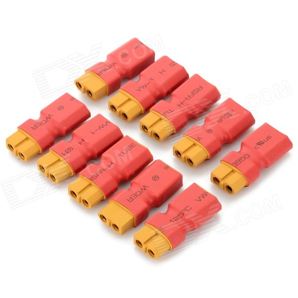 T Plug XT60 Male to Female Connector for R/C Model - Red + Yellow (10 PCS) universal 38 t plug female to t plug male parallel connector red black brass