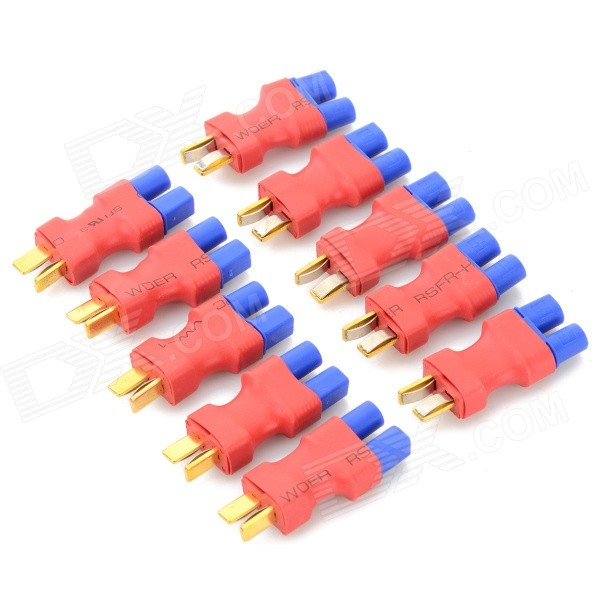 T Plug Male to EC3 Female Connectors for R/C Model Battery - Red + Blue + Golden (10 PCS) 10 piece new part kq2h10 03s smc fitting male connectors