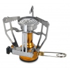Outdoor Camping Mini Integrated Gas Stove Burner w/ Electronic Fire Starter - Gold + Silver