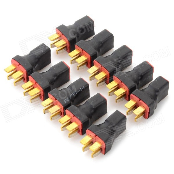 T Plug Parallel 2 x Male to 1 x Female Connector for R/C Model - Black + Red (10 PCS) universal 38 t plug female to t plug male parallel connector red black brass