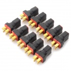 T Plug Parallel 2 x Male to 1 x Female Connector for R/C Model - Black + Red (10 PCS)