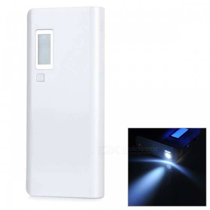 Universal 15000mAh External Li-ion Battery Power Bank w/ Display Screen / USB Cable - White sony cp s15 s 15000 mah
