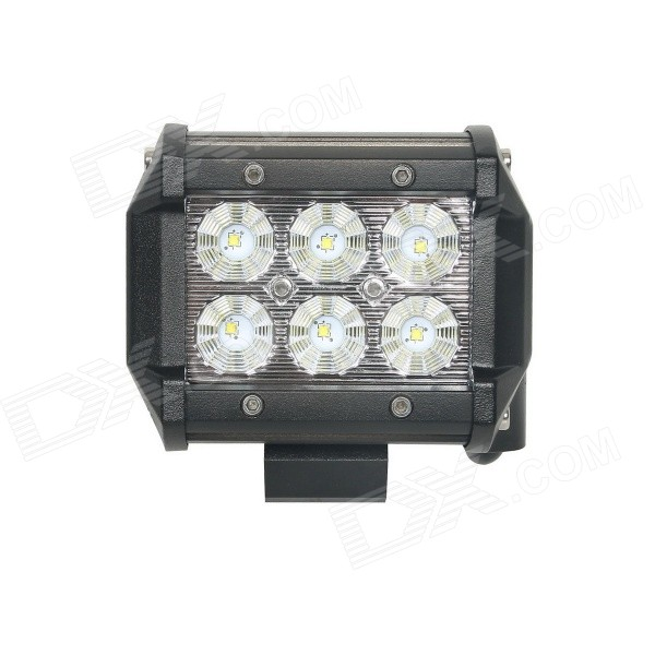 18W Type/C Flood 6000K 1260lm White Light 6-LED Double-line Work Light Bar for Car / Boat guleek 60w type h 4200lm 6000k 6 led white flood spot light worklight bar for car boat