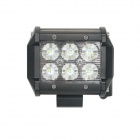 18W Type/C Flood 6000K 1260lm White Light 6-LED Double-line Work Light Bar for Car / Boat