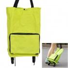 Fashion Multifunctional Folding Polyester Shopping Wheel Packet Bag - Florescent Green