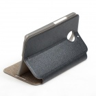 Protective PU Leather + PC Flip Open Case w/ Display Window for MOTO X+1 - Black
