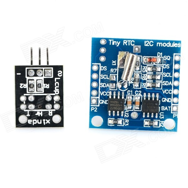2-in-1 Tiny RTC I2C Module w/ 24C32 Memory / DS1307 Clock + Optical Sensor Module for Arduino - Blue ds3231n raspberry pi rtc board real time clock module for arduino red