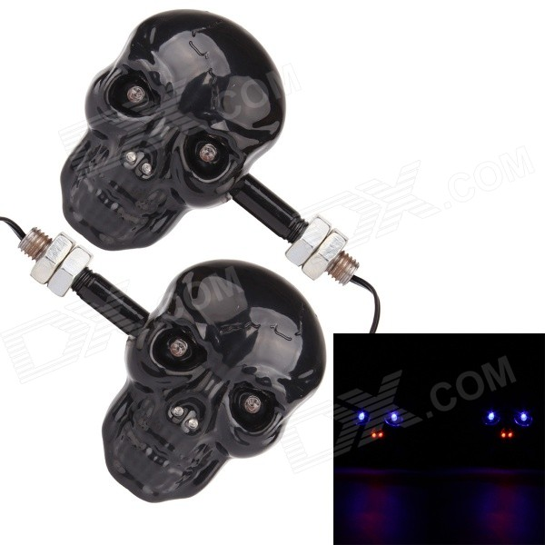 MZ 0.5W 200ML 4-LED Skull stil Blue & Red Light Motorsykkel Steering Lamper-Svart (12V / Pair)