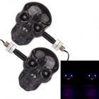 MZ 0.5W 200ML 4-LED Skull Style Blue & Red Light Motorcycle Steering Lamps - Black (12V / Pair)