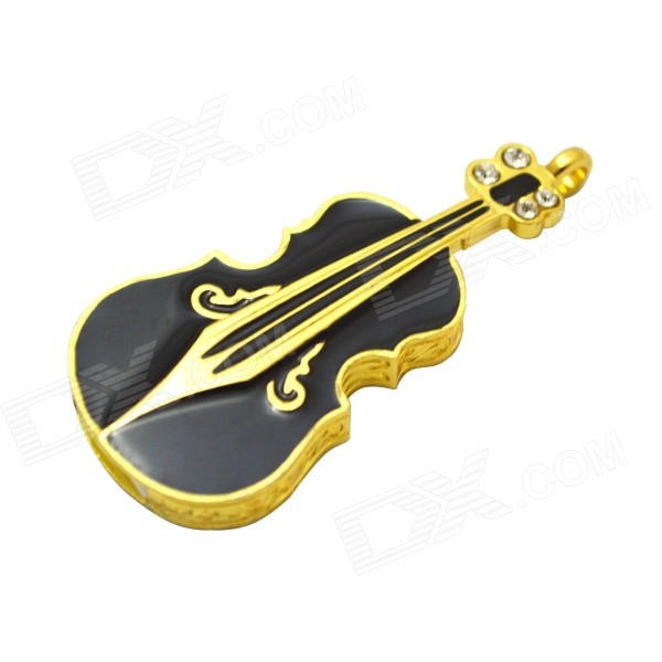 Violin Shaped USB 2.0 Flash Drive - Black + Golden (8GB)