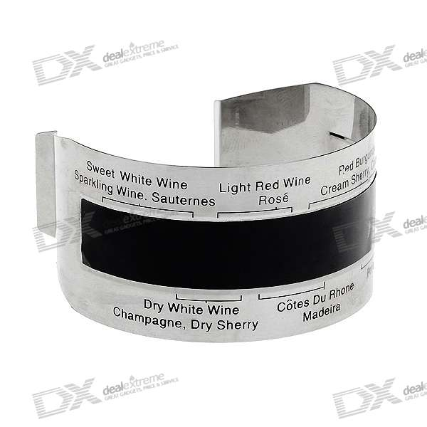 Stainless Steel Wine Bracelet Thermometer - Silver + Black (16~24'C)