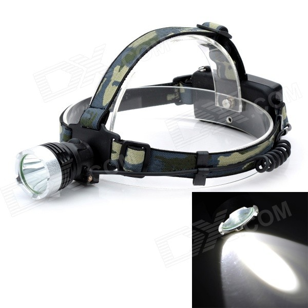 J6-B Outdoor 300lm 3-Mode Cool White Light LED Headlamp - Black (2 x 18650)