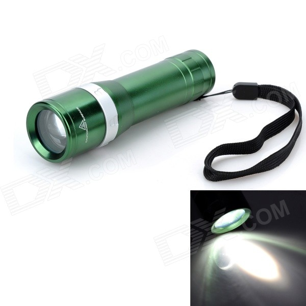 Outdoor Mini 240lm 3-Mode Rotate Zooming Cool White LED Flashlight - Green (1 x 18650 / 3 x AAA)