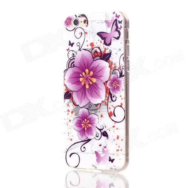 Floral & Plants Pattern Protective TPU Back Case for IPHONE 6 4.7 - White + Purple + Multicolor glossy tpu gel back protection case for iphone 7 plus light purple