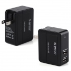 Orico DCX-2U-BK 2-Port USB Wall Charger Power Adapter for Mobil / Tablet PC - svart (US Plugger)