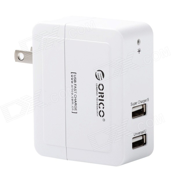 все цены на ORICO DCX-2U-WH 2-Port USB Wall Charger Power Adapter for Cellphone / Tablet PC - White (US Plug) онлайн