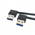 CY U3-182-0.5M USB 3.0 Type A Male 90 Degree Left Angled to Right Angled Extension Cable - Black