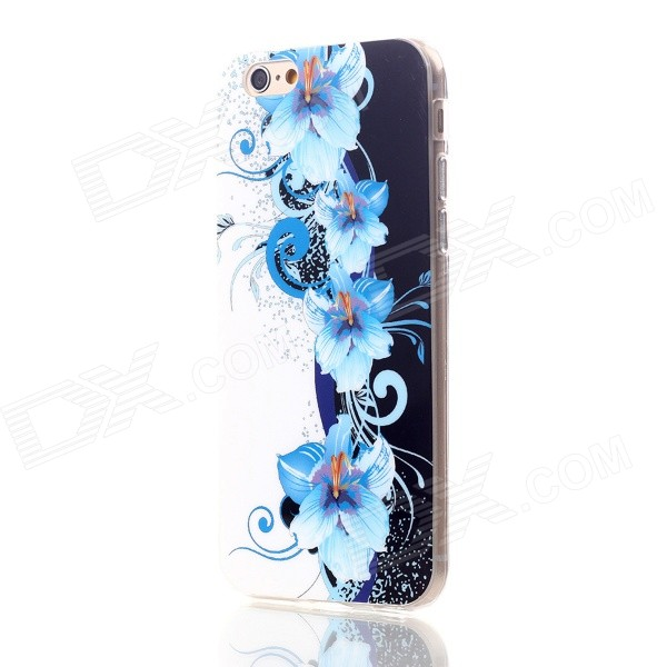 Floral & Plants Pattern Protective TPU Back Case Cover for IPHONE 6 4.7 - Blue + White transparent tpu material spindrift pattern and diamond design protective back cover case for iphone 6 plus 5 5 inches