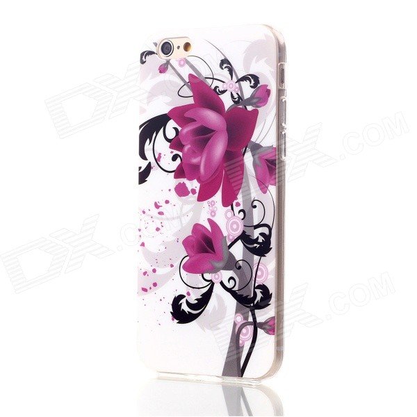 Floral & Plants Pattern Protective TPU Back Case Cover for IPHONE 6 4.7 - White + Deep Pink + Black girl pattern glow in the dark protective tpu back case for iphone 4 4s white light pink